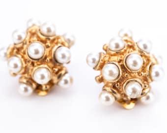Vintage Gold Plated Faux Pearl Sputnik Clip Statement Earrings