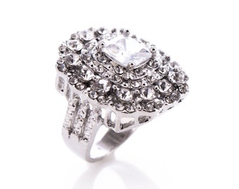 Ladies Silvertone and Crystal Fashion Statement Ring