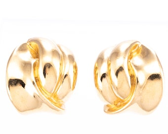 Vintage Replica Made in Italy Gold Plated Twist Clip Earrings