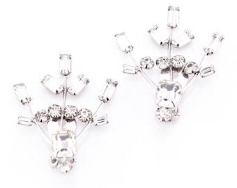 Vintage Rhinestone Spray Clip Earrings