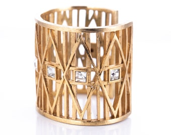 Vintage Givenchy Gold Plated Rhinestone Modernist Cuff Bracelet