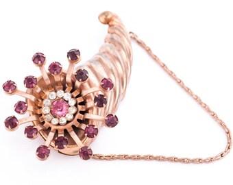 Vintage Rhinestone Starburst Rose Gold Wash Cornucopia Brooch