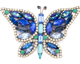 Vintage Kenneth Jay Lane Rhinestone Butterfly Brooch
