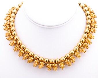 Vintage Goldtone Beaded Choker Necklace