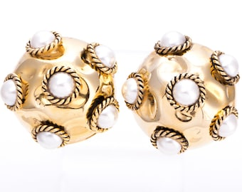 Vintage Givenchy Hammered Gold and Glass Pearl Statement Earrings