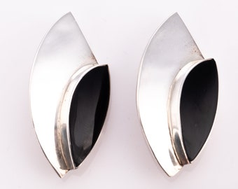 Vintage Los Ballesteros Sterling Silver and Black Onyx Modernist Clip Earrings