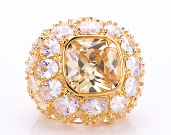 Estate Joan Boyce Yellow Topaz Rhinestone Statement Ring Size 6.5