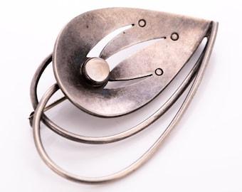Vintage Lennart Haglund Sterling Silver Rose Quartz Modernist Brooch