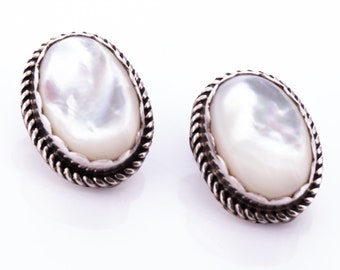 Vintage Sterling Silver and Mother of Pearl Navajo Clip Earrings