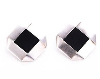 Vintage Georg Jensen Sterling Silver Black Onyx Modernist Clip Earrings #209 Designed by Allan Scharff