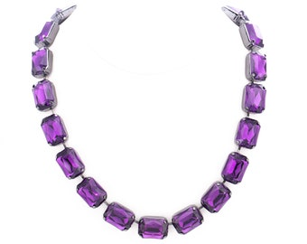 Vintage Joan Rivers Classics Collection Amethyst Lucite Statement Necklace