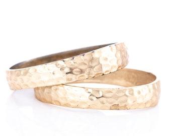 Vintage Kenneth Jay Lane 22K Gold Plated Hammered Bangle Bracelet Pair