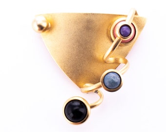 Vintage G.N. Buonanno Gold Plated Abstract Modernist Brooch