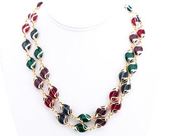 Vintage Swarovski Glass Beaded Statement Necklace