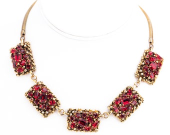 Vintage Barclay Ruby Red Rhinestone Choker Necklace