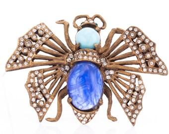 RARE Vintage Kenneth Jay Lane Rhinestone Butterfly Brooch Circa 1960's