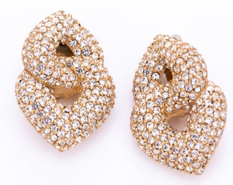 Vintage Ciner Pave Crystal Intertwined Clip Statement Earrings