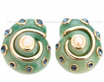 Vintage Kenneth Jay Lane Rhinestone Faux Jade Nautilus Shell Earrings