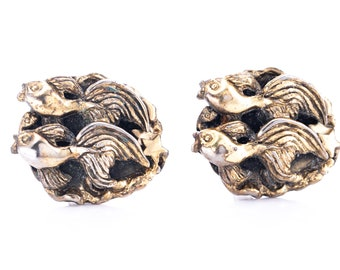 Vintage Tortolani Gold Tone Pisces Fish Zodiac Cufflinks