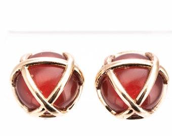 Vintage Gold Plated Carnelian Glass Clip Earrings