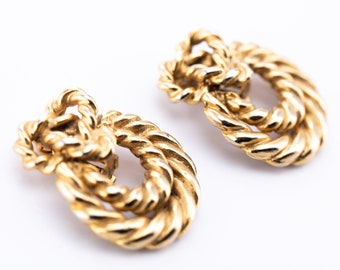 Vintage Sonia Rykiel Braided Door Knocker Clip Earrings