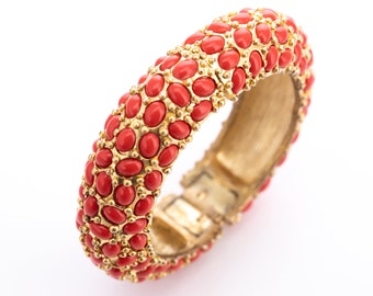 Vintage Kenneth Jay Lane Coral Cabochon Hinged Statement Bangle Bracelet