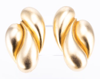 Vintage Gold Plated Biomorphic Statement Clip Earrings