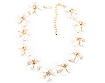Vintage Kenneth Jay Lane White Pearl Flower Necklace
