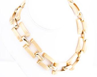 Vintage St. John Gold Plated Heavy Link Statement Necklace