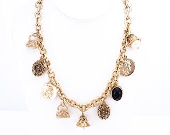 Vintage Heavy Gold Plated Charm Necklace