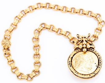 Vintage Jose & Maria Barrera 24K Gold Plated Coin Pendant Chain Necklace