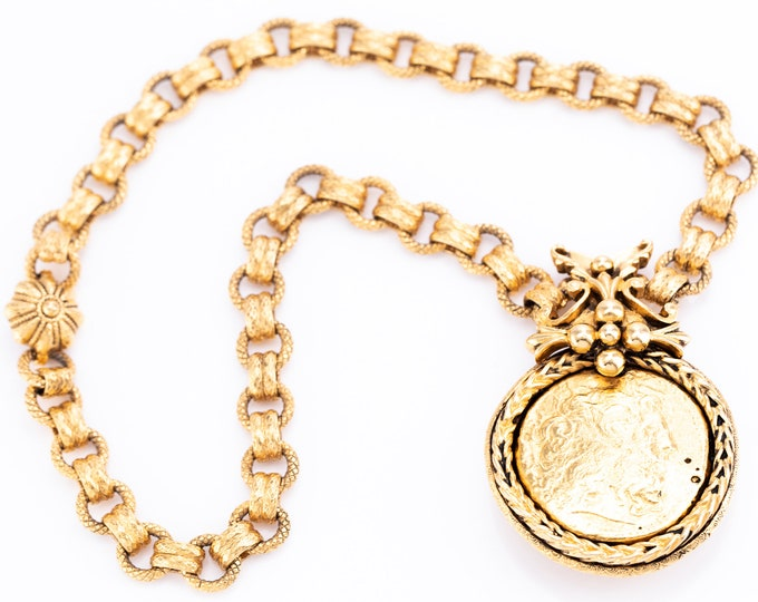 Featured listing image: Vintage Jose & Maria Barrera 24K Gold Plated Coin Pendant Chain Necklace