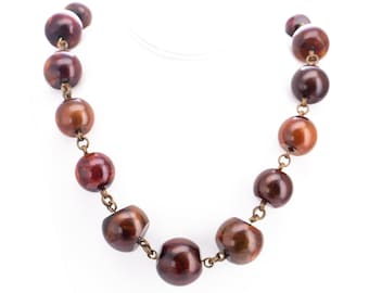 Vintage Stephen Dweck Bronze Amber Resin Beaded Statement Necklace