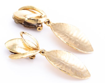 Vintage Cecile Jeanne Gold Plated Floral Clip Statement Earrings