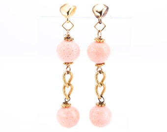 Vintage Jaded Gold Plate and Angel Skin Coral Beaded Statement Earrings
