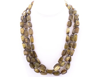 Vintage Dominique Denaive Marbled Lucite Beaded Opera Length Necklace