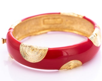 Vintage Balenciaga Ruby Enamel Gold Plated Hinged Bangle Bracelet