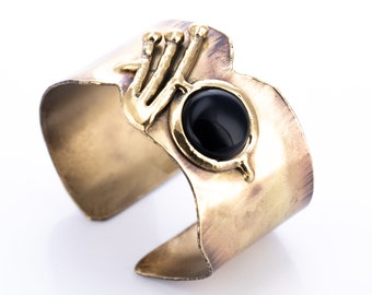 Vintage Brutalist Style Brass and Onyx Modernist Cuff Bracelet