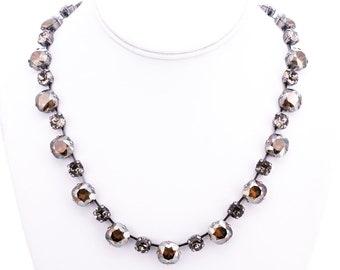 Vintage Krikor Bronze Swarovski Crystal Necklace
