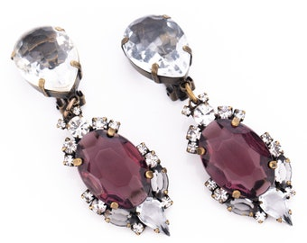 Vintage Jennifer Maxwell Open-Back Amethyst Rhinestone Clip Statement Earrings