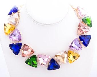 Colorful Lucite Rhinestone Statement Necklace