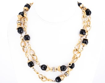 Vintage Black Onyx Glass, Rhinestone, and Gold Plated Chain Necklace