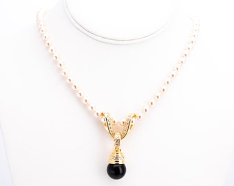 Vintage Nolan Miller Glamour Collection Faux Pearl Necklace with Interchangeable Pendants