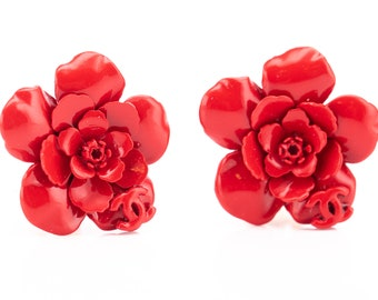 RARE Vintage Chanel Red Enamel Logo Floral Clip Earrings
