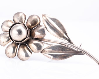 Vintage Mexican Sterling Silver Large Daisy Brooch