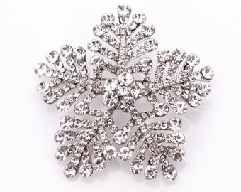 Estate Crystal Rhinestone Snowflake Brooch