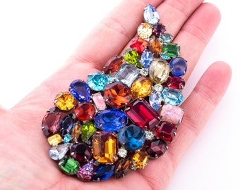 Vintage Siluane Massive Multi-Colored Rhinestone Brooch
