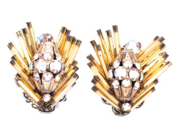 Vintage Alice Caviness Amber and Aurora Borealis Rhinestone Clip Earrings