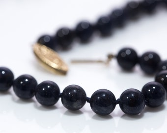 Vintage Sodalite Beaded Necklace with 14K Gold Clasp