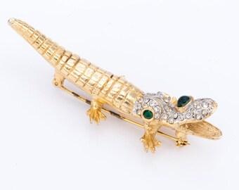 Vintage 1960's Kenneth Jay Lane Figural Alligator Brooch